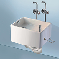 Cat No.  1025 <br/>                                   Bed Pan Sink Complete with Fitting